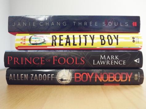 march2015_bookhaul_threesouls_realityboy_princeoffools_boynobody