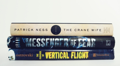 May2015_BookHaulSpinePoetry_Crane-Wife-Messenger-of-Fear-Paradox-of-Vertical-Flight