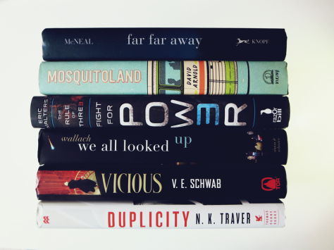 sept-bookhaul-vicious-duplicity-we-all-looked-up-rule-of-three-mosquitoland-far-far-away