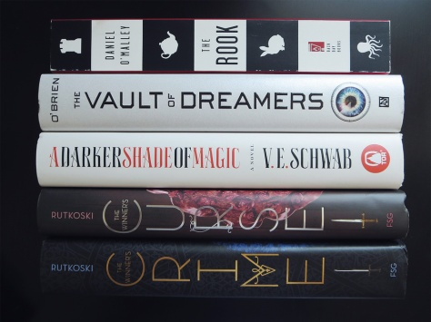 sept15bookhaul-winners-curse-crime-darker-shade-of-magic-the-rook-vault-of-dreamers